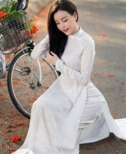 Thai Tuan White Brocade Ao Dai 2
